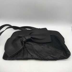 Valentino Black Leather and Mesh Bow Bag